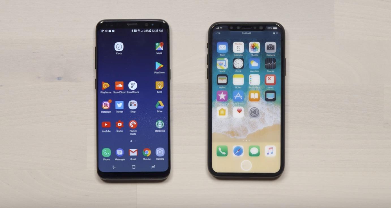 Galaxy S8 til venstre.