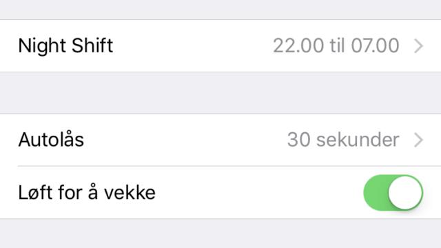 Her er autolysstyrke i iOS 10.