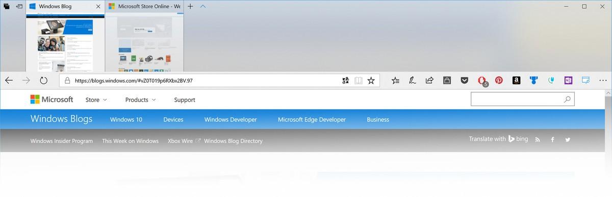 Edge oppdatert med Fluent Design System.