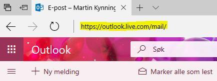 Taster du inn denne lenken åpnes nye Outlook.com