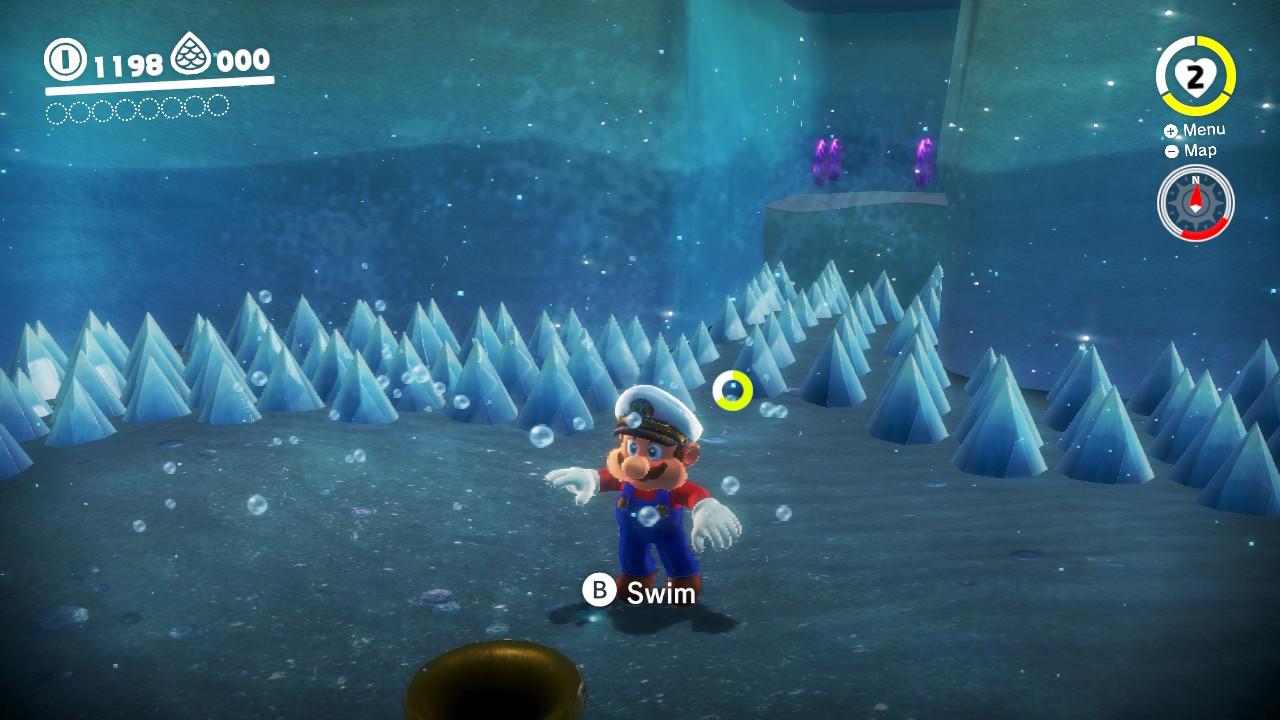 Mario trives ikke like godt under vann som på land.