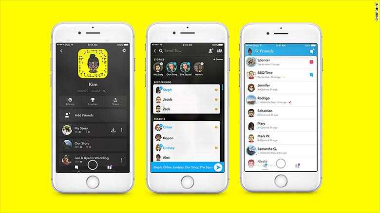 Snapchats nye design.