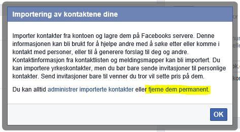 Her fjerner du kontakter du har lastet opp til Facebook.