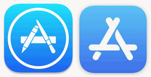 Den gamle logoen til venstre, den nye til høyre.