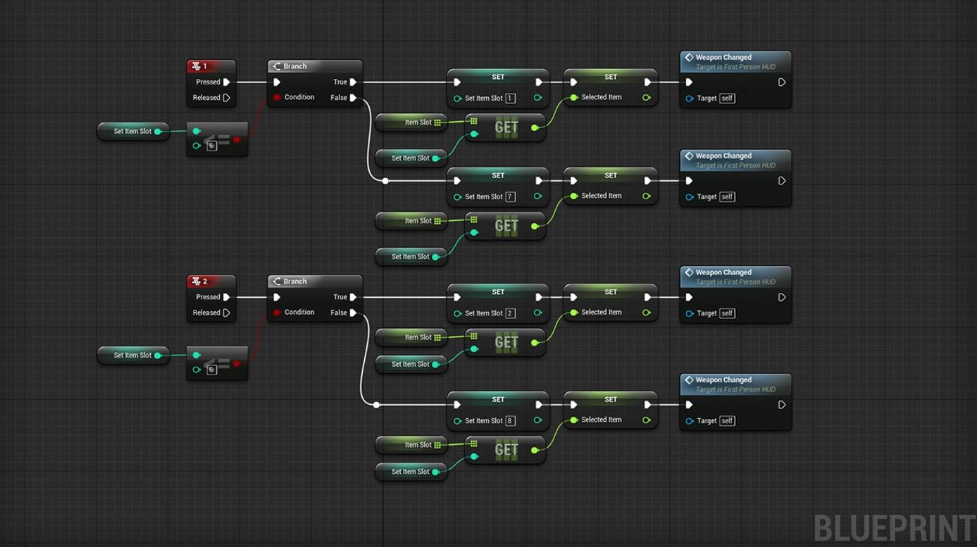 Slik ser visuell koding ut i Unreal Engine 4.