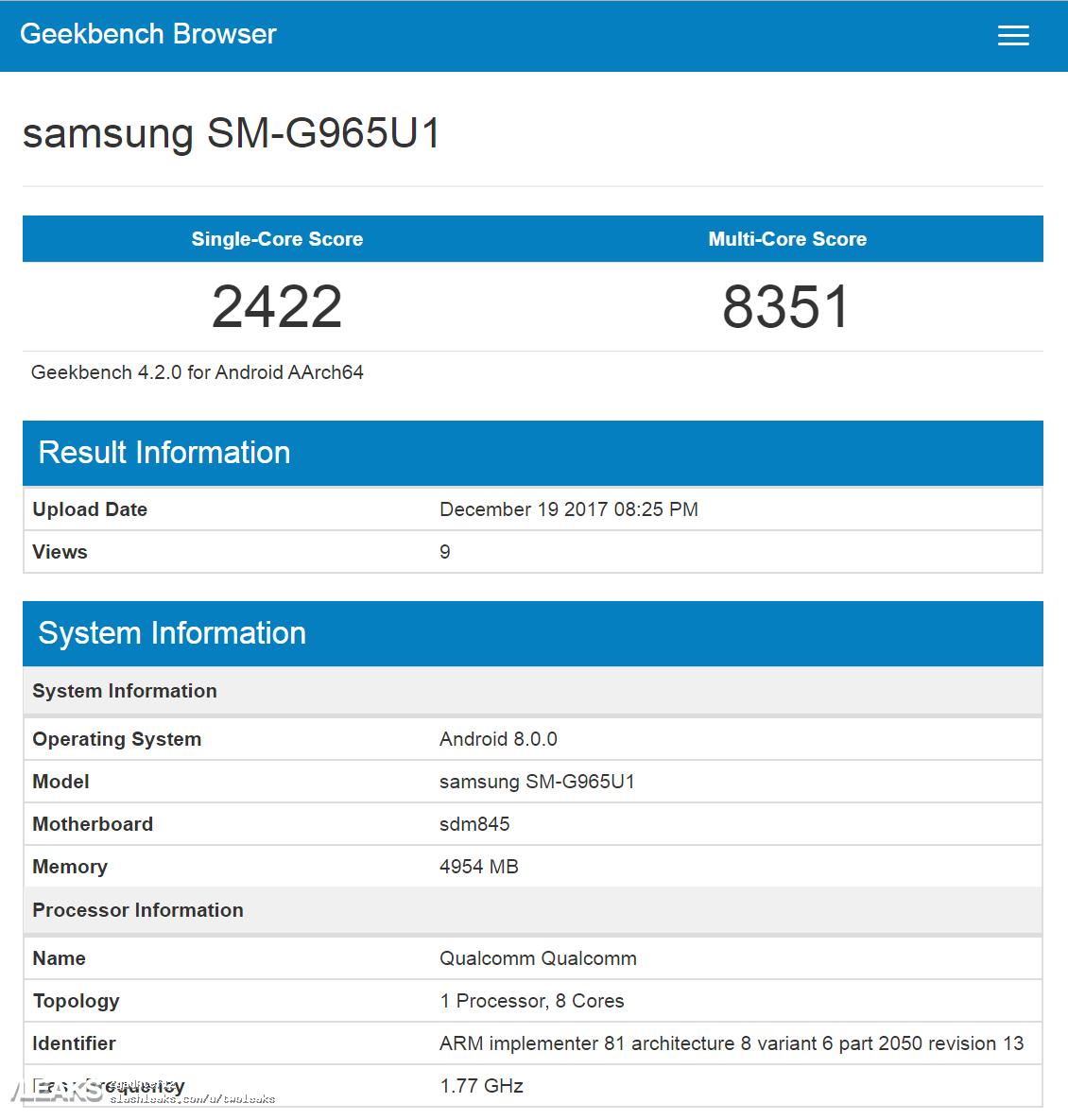 Slik yter Galaxy S9+ i GeekBench.