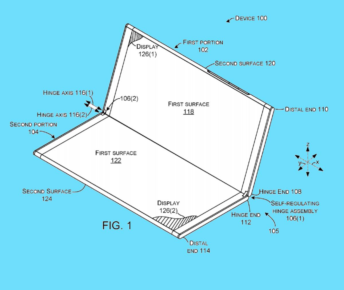 Microsoft legger mye vekt på hengselet i patentsøknaden.