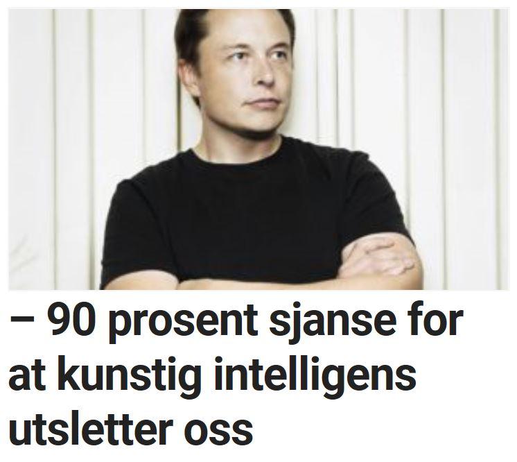 Elon Musk advarer mot kunstig intelligens.