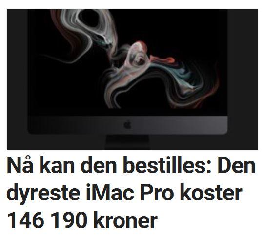 iMac Pro koster nærmere 150 000 kroner.