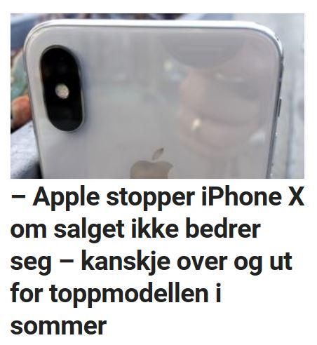 Apple kan komme til å stoppe iPhone X-produksjonen tidligere enn ventet.
