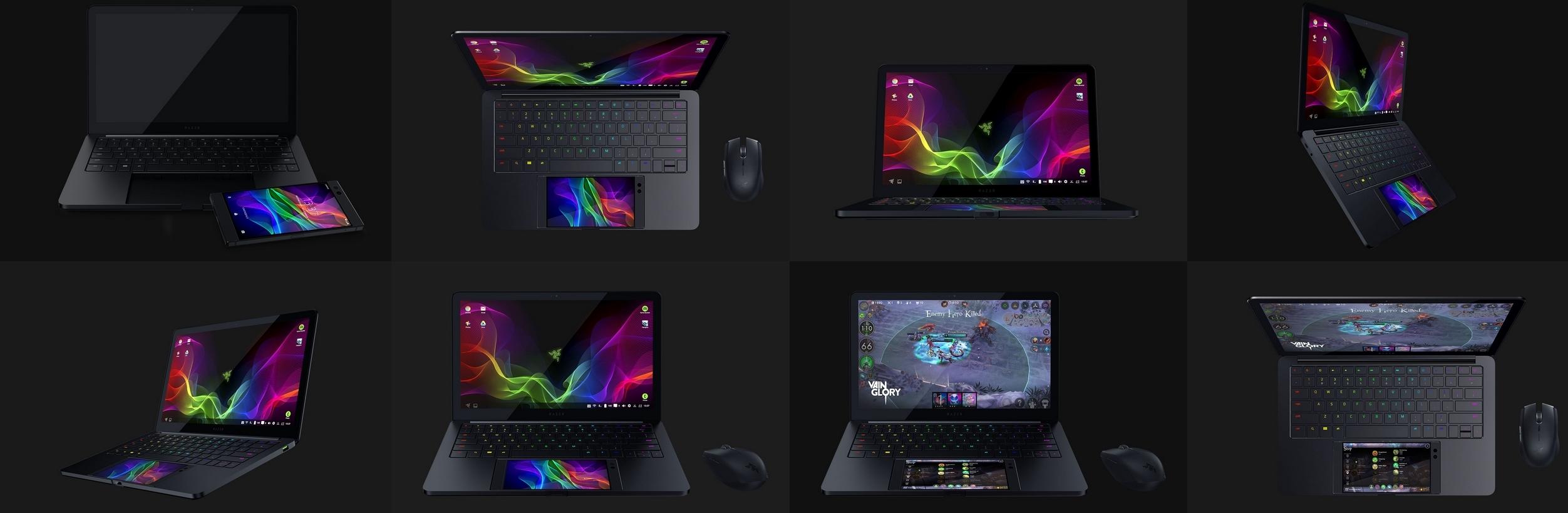 """Razer Phone plasseres rett under tastaturet og gir liv til maskinen med en 13,3"""" skjerm."""