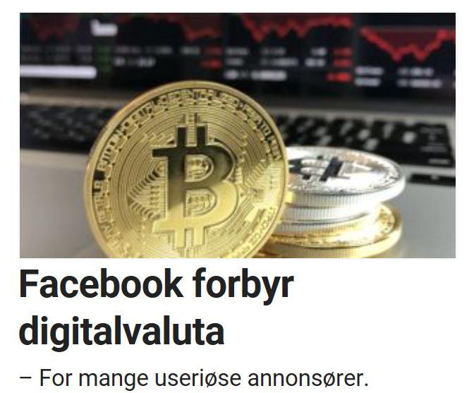 Facebook setter ned foten for bitcoin.