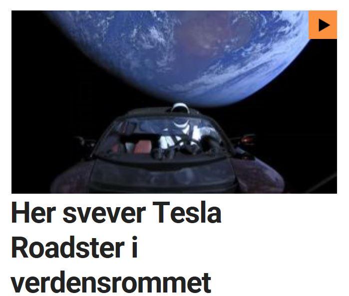Her svever førstegenerasjons Tesla Roadster i verdensrommet.