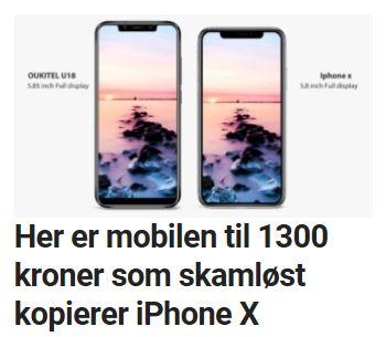 Sjekk denne iPhone X-klonen til 1300 kroner.