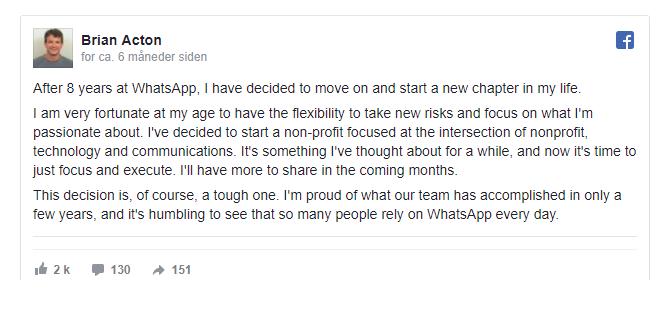 Brian Acton tar farvel med Facebook og WhatsApp.