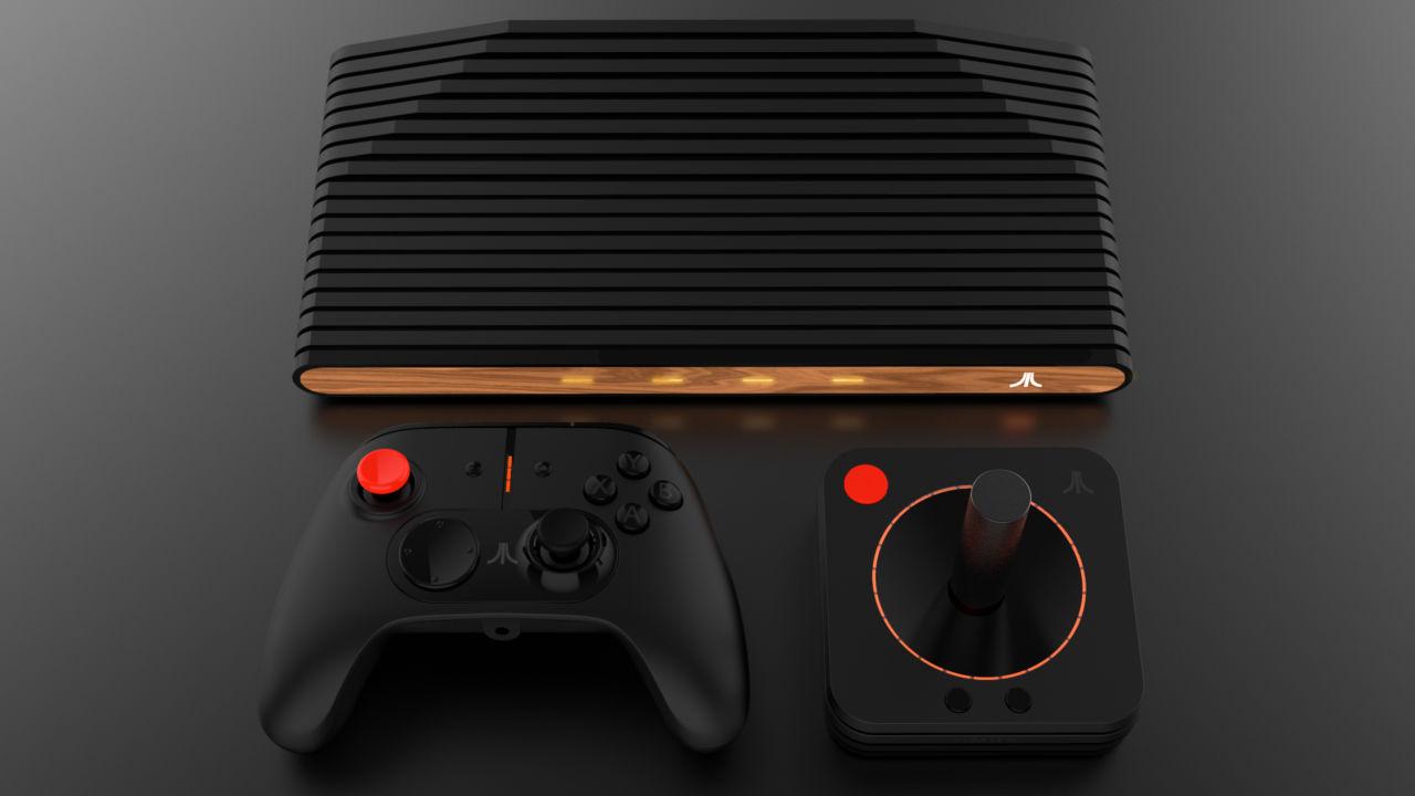 Atari VCS med tilhørende joystick og kontroller.