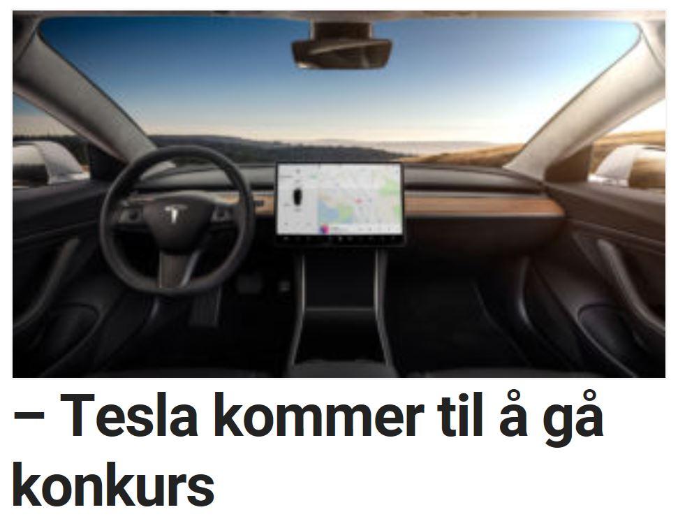 – Tesla kommer til å gå konkurs
