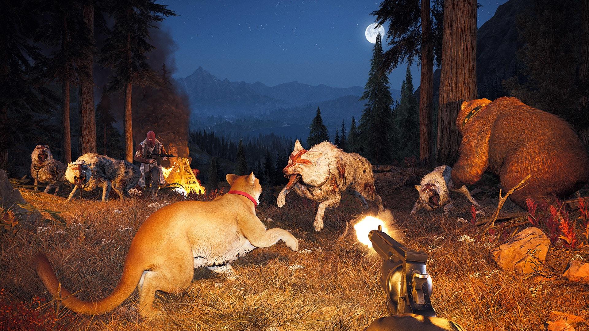 Du vil høre skumle rovdyr overalt, spesielt på natta. Bruk kjøtt du finner for å få dem til å angripe fienden!
