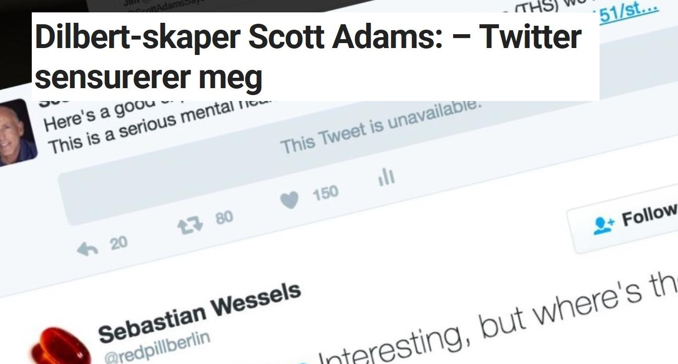 Scott Adams opplevde Twitter-sensur