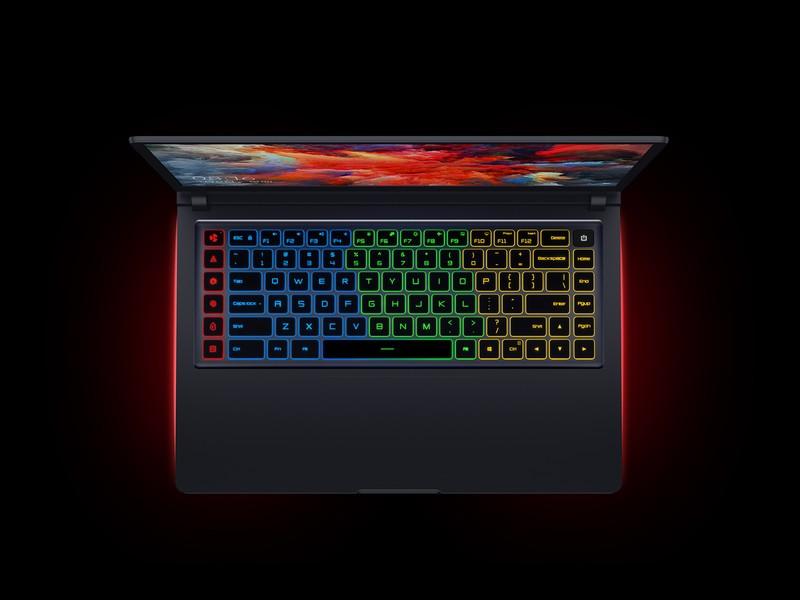 Laptopen har RBG-belysning.