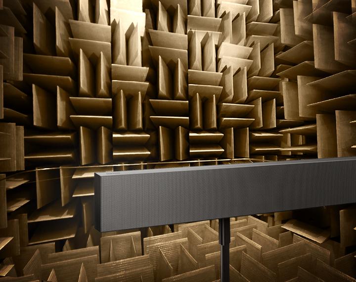 Her testes en av de nye lydplankene.