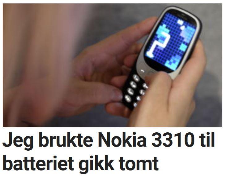 Martin brukte Nokia 3310 til batteriet gikk tomt.