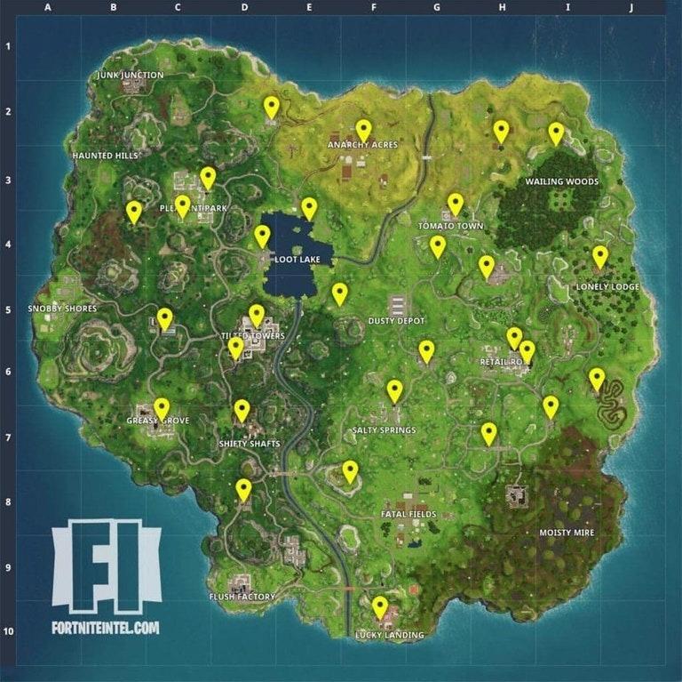 FortniteIntel har funnet alle salgsautomatene i spillet.
