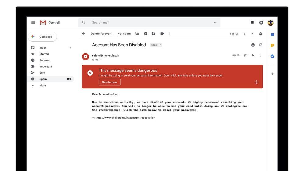 Gmail advarer brukerne om potensielle sikkerhetsrisikoer.