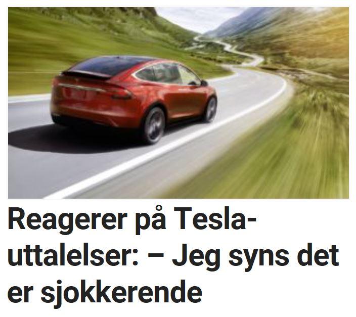 Reagerer på Tesla-uttalelser: – Jeg syns det er sjokkerende.