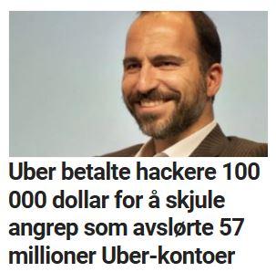 Uber betalte hackere 100 000 dollar for å skjule angrep som avslørte 57 millioner Uber-kontoer.
