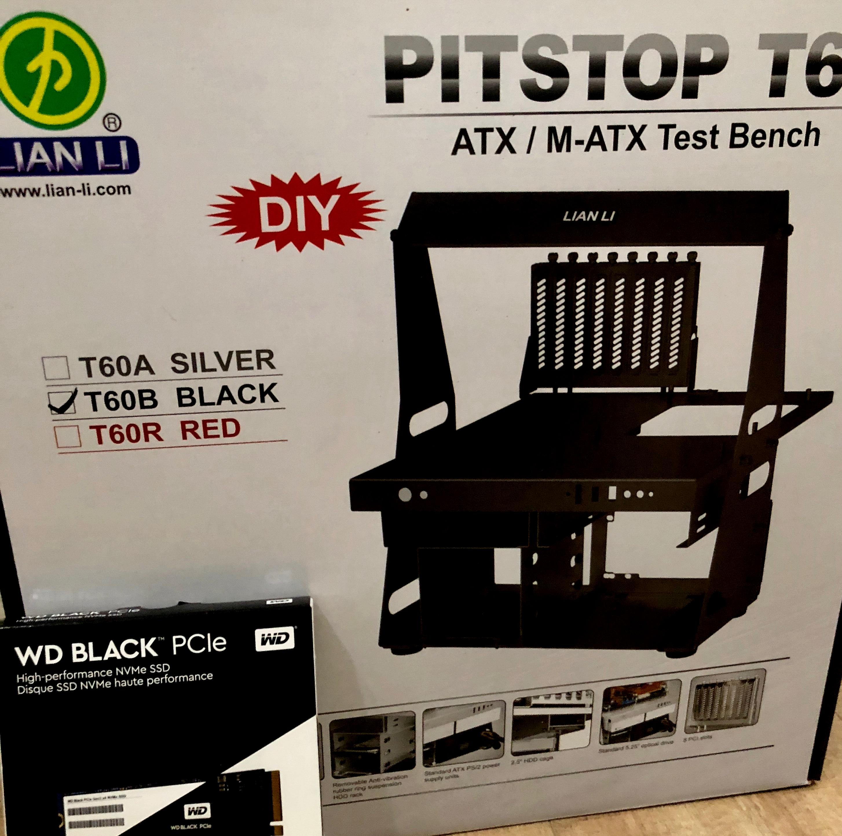 Lian Li PC-T60B ATX/Micro ATX Test Bench og WD Black 512GB Performance SSD - 8 Gb/s M.2 2280 PCIe NVMe mottatt.