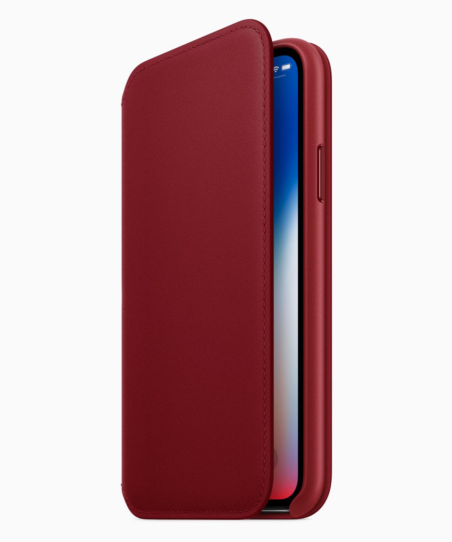 iPhone X kommer ikke i rødt, men man får kjøpt et skinndeksel til telefonen.