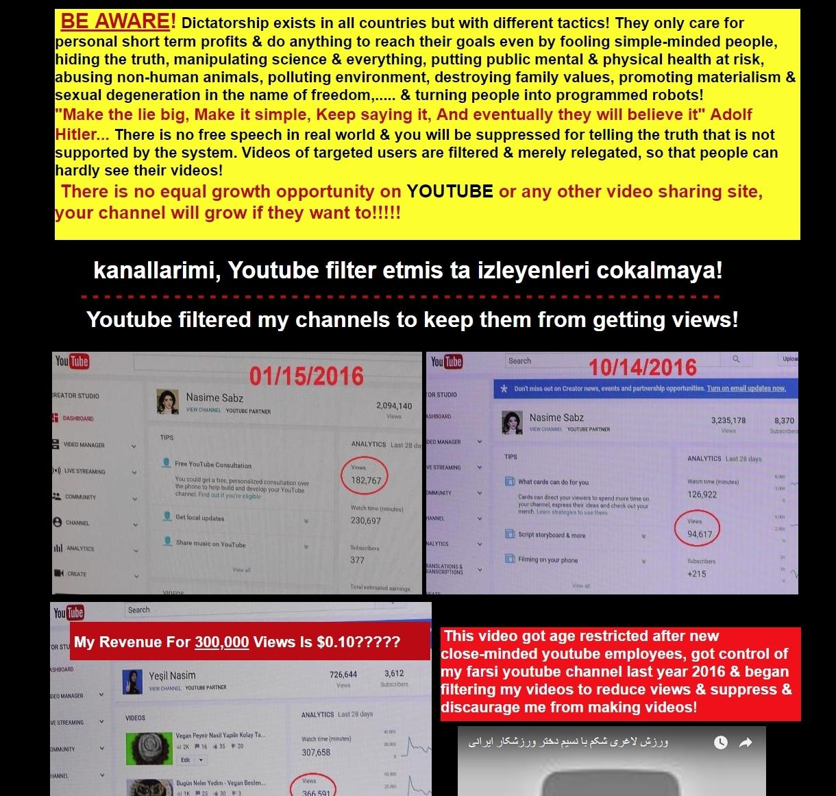 Hun beskyldte YouTube på egen nettside for å sensurere innholdet hennes.