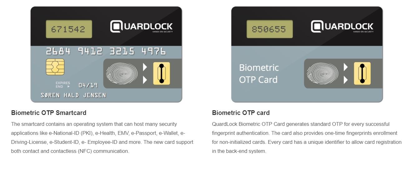 Kortet til venstre er som en liten datamaskin å regne, med støtte for en rekke muligheter. Dette kortet har kontakt og kontaktløs-støtte (NFC). Kortet til høyre er enklere og genererer et engangspassord hver gang man verifiserer seg med fingeren.