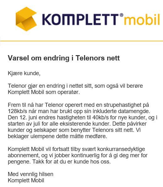 Her er e-posten Komplett Mobil har sendt til sine kunder.