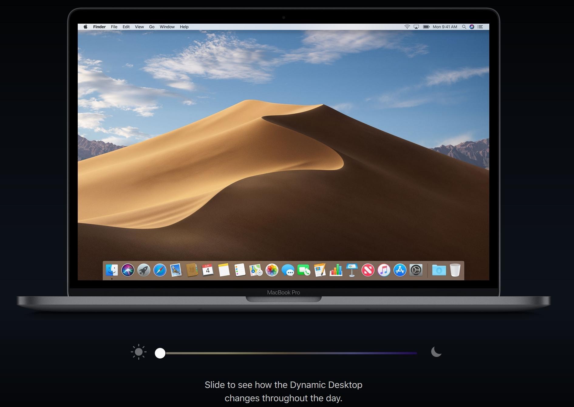 macOS-grensesnittet endrer seg etter døgnrytmen.