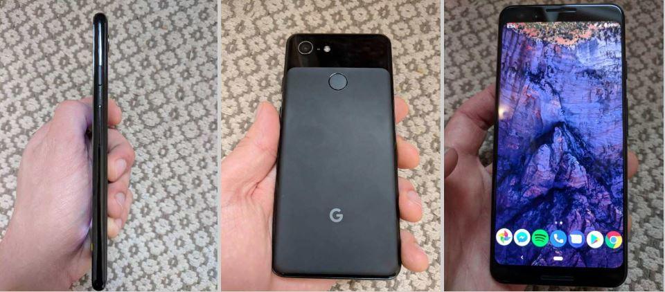 Her er Google Pixel 3 fra tre vinkler.