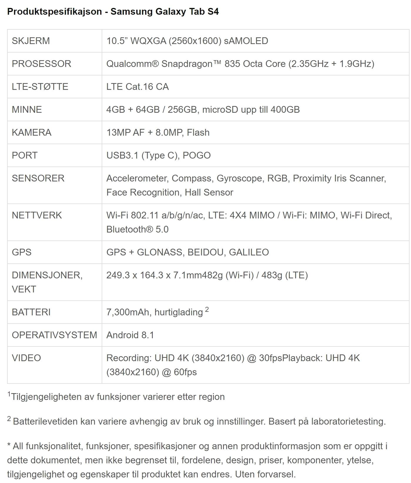 Tab S4 spesifikasjoner.