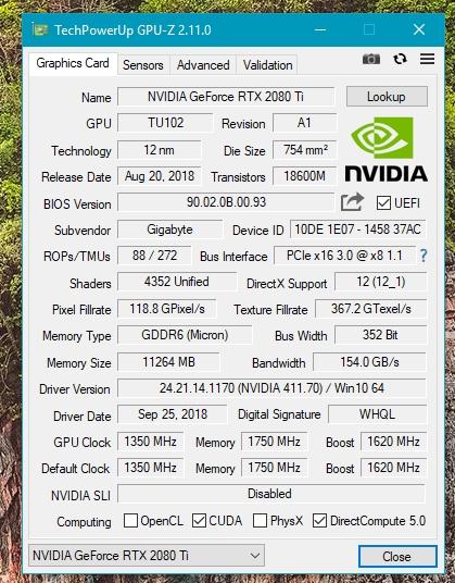 Gigabyte RTX 2080 Ti WINDFORCE 11G OC