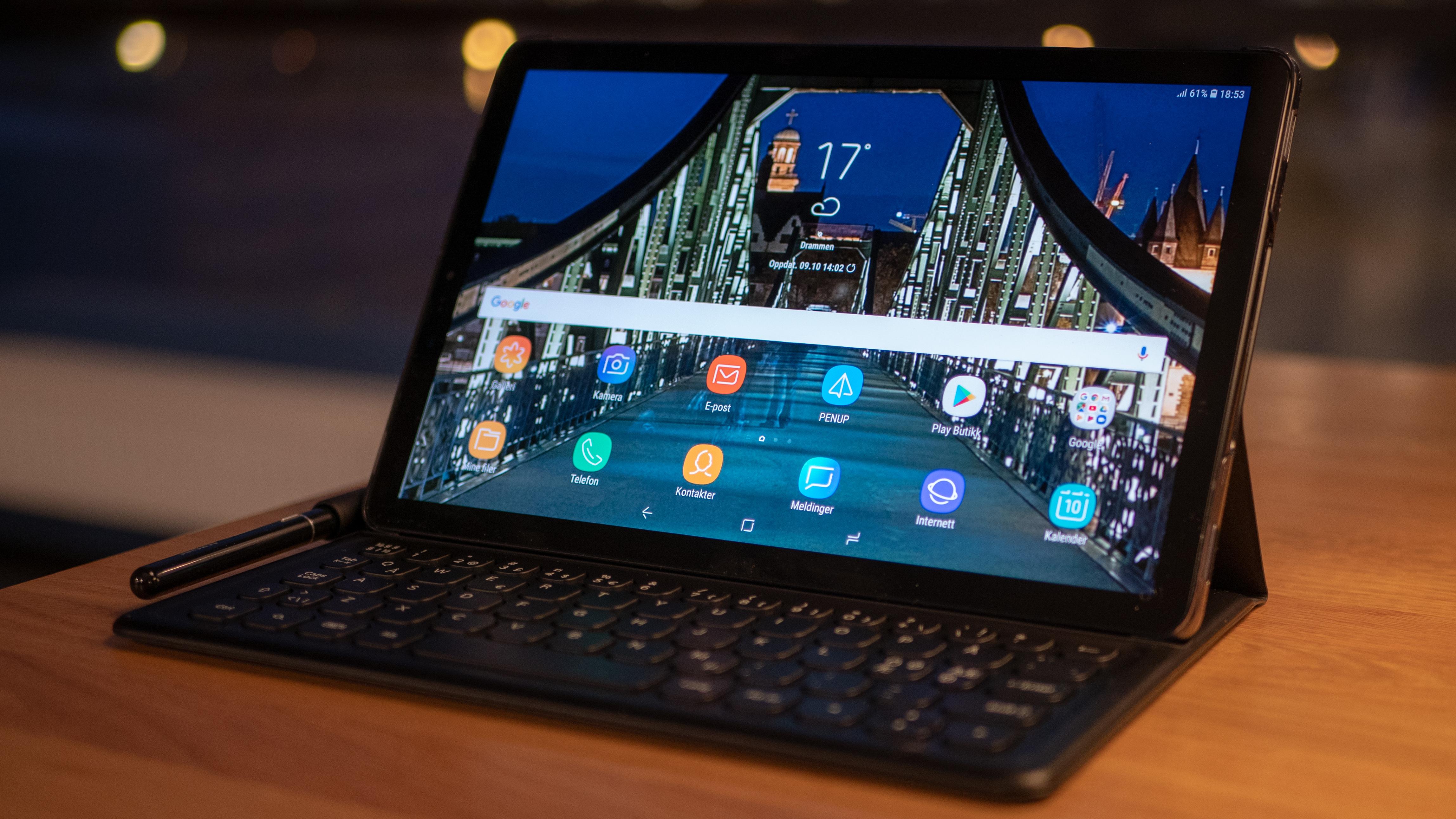 Galaxy Tab S4-dekselet kan kun justeres i én vinkel.