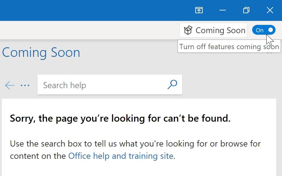 """Velg så """"Coming soon"""" oppe til høyre. Versjonen ser ut til å være så fersk, at Microsoft ikke har rukket å legge ved hjelpetekst."""