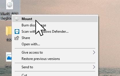 """Høyreklikk og velg """"mount"""" for å oppgradere."""