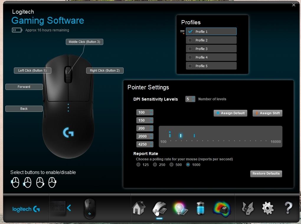 Programvaren er lett å bruke og kjenne igjen for alle som har brukt et Logitech-produkt i nyere tid.
