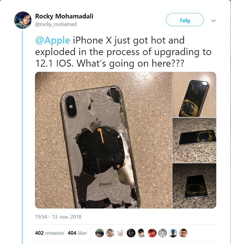 Iphone X tok fyr etter oppdatering (III wccftech)