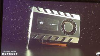 Her er et av prototypene til Intels kommende skjermkort.