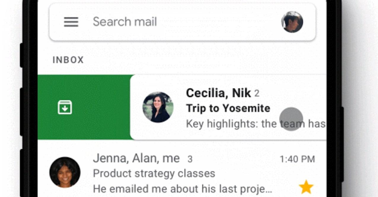 Gmail swipe iOS