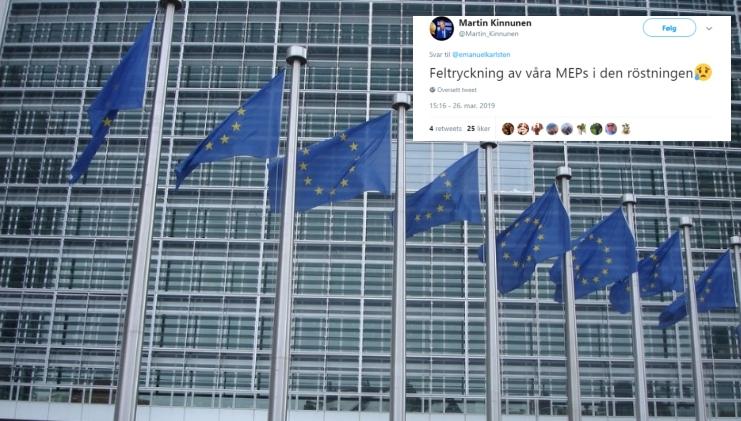 Det meldes om at svenske medlemmer i Europaparlamentet trykket feil under avstemningen, men ikke alle setter lit til forklaringen.