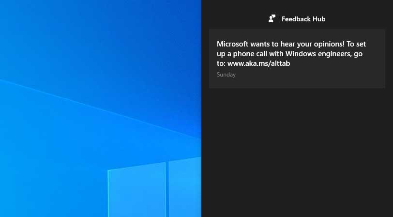 I Windows 10 kan du få varsel om å ringe Microsoft for å diskutere funksjonene deres.