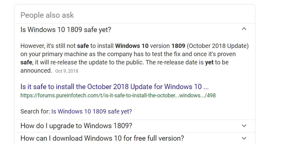 """Dette Google-spørsmålet kommer høyt opp på søkeresultatet for """"windows 1809""""."""