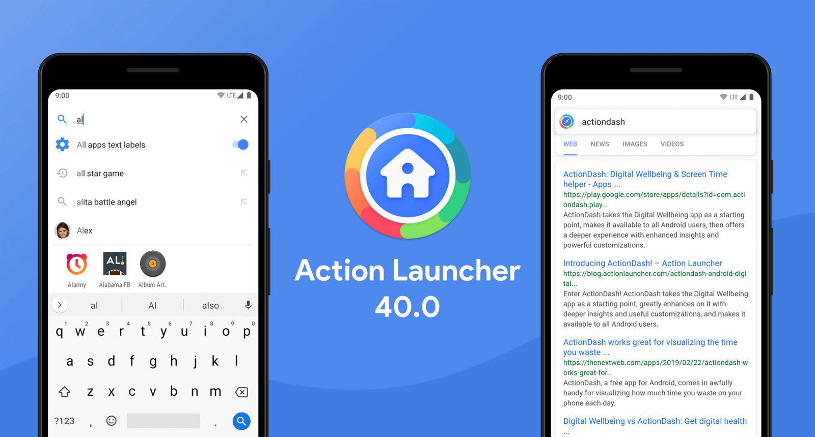 Nå er Action Launcher oppdatert - støtter reklame i søk